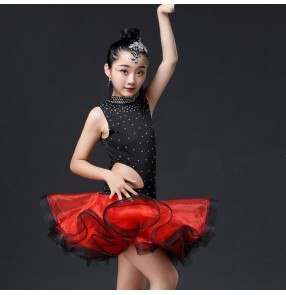 Girls latin dance dresses black with red kids children stage performance rumba salsa chacha dance skirts costumes